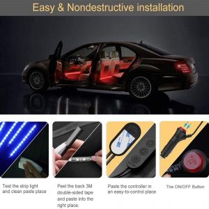 LED APP Controller Car Interior Lights, Waterproof Multicolor Music Under Dash Lighting Kits