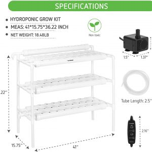 Hydroponic Grow Kit, 3 Layers 90 Plant Sites 10 PVC Pipes Hydroponics Growing System