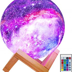LED 3D Star Moon Light with Wood Stand, Remote & Touch Control USB Rechargeable
