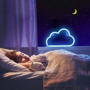 LED Neon Light, Neon Sign Blue Cloud for Wall Decor, Battery and USB Operated Neon Decorative Lights