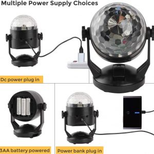 Sound Activated Party Lights with Remote Control, Battery Powered/USB Portable RBG Disco Ball Light