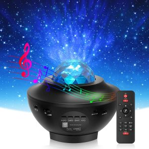 Star Projector & Night Light, Wave Night Light Projector with Remote Control & Auto-Off Timer